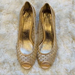 ADRIANNA PAPELL Metallic Gold Shoes